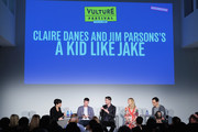 "(L-R) Stacey Wilson Hunt, Director Silas Howard, Writer Daniel Pearle, Actor Claire Danes, and Actor Jim Parsons speak onstage during ""Claire Danes and Jim Parsons's A Kid Like Jake"" on Day Two of the Vulture Festival Presented By AT&T at Milk Studios on May 20, 2018 in New York City."