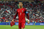 Cristiano Ronaldo of Portugal is seen after exchanging a pennant prior to the FIFA Confederations Cup Russia 2017 Semi-Final between Portugal and Chile at Kazan Arena on June 28, 2017 in Kazan, Russia.
