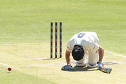 Cameron White of Victoria drops to his knees after being struck by a delivery from Cameron Green of Western Australia during the Sheffield Shield match between Western Australia and Victoria at the WACA on October 17, 2018 in Perth, Australia.