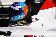 TOYOTA GAZOO RACING in the Toyota TS050 - Hybrid driver Fernando Alonso #8 of Spain gets ready to compete during the Qualifying session in the WEC 6 Hours Of Spa-Francorchamps at Circuit de Spa-Francorchamps on May 4, 2018 in Spa, Belgium.