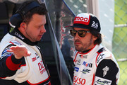 TOYOTA GAZOO RACING in the Toyota TS050 - Hybrid driver Fernando Alonso of Spain looks on from the pit wall as he competes during Final Free Practice session in the WEC 6 Hours Of Spa-Francorchamps at Circuit de Spa-Francorchamps on May 4, 2018 in Spa, Belgium.