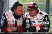 TOYOTA GAZOO RACING in the Toyota TS050 - Hybrid driver Fernando Alonso of Spain looks on from the pit wall as he competes during the Qualifying session in the WEC 6 Hours Of Spa-Francorchamps at Circuit de Spa-Francorchamps on May 4, 2018 in Spa, Belgium.