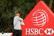 Liang Wenchong of China plays his shot from the 18th tee during the final round of the WGC - HSBC Champions at Sheshan International Golf Club on October 29, 2017 in Shanghai, China.