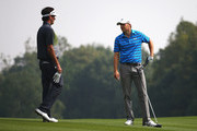 Bubba Watson and Jordan Spieth of the United States talk on the 15th hole during day one of the WGC - HSBC Champions at the Sheshan International Golf Club on November 5, 2015 in Shanghai, China.