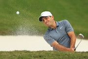 Francesco Molinari of Italy plays a shot from a bunker on the 15th hole during the first round of the WGC - HSBC Champions at Sheshan International Golf Club on October 25, 2018 in Shanghai, China.
