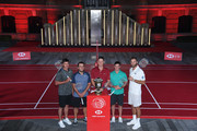 Brooks Koepka of the United States, Francesco Molinari of Italy, Justin Rose of England, Rory McIlroy of Northern Ireland and Dustin Johnson of the United States pose during a photocall prior to the WGC - HSBC Champtions at the Chamber of Commerce Shanghai on October 23, 2018 in Shanghai, China.