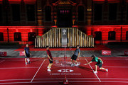 (L-R) Francesco Molinari of Italy, Justin Rose of England, Brooks Koepka of the United States and Rory McIlroy of Northern Ireland play badminton during a photocall prior to the WGC - HSBC Champtions at the Chamber of Commerce Shanghai on October 23, 2018 in Shanghai, China.