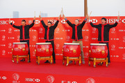 (L-R) Henrik Stenson of Sweden, Rickie Fowler, Jordan Spieth and Bubba Watson of the United States perform on stage during a photocall at The Peninsula prior to the start of the WGC - HSBC Champions on November 3, 2015 in Shanghai, China.