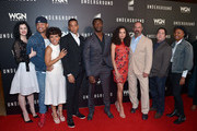 """(L-R) Cast members Jessica de Gouw, Anthony Hemingway, Amirah Vann, Alano Miller, Aldis Hodge, Jurnee Smollett-Bell, Christopher Meloni and creators/executive producers Joe Pokaski and Misha Green attend WGN America's """"Underground"""" For Your Consideration Emmy Event on April 17, 2016 in Beverly Hills, California."""