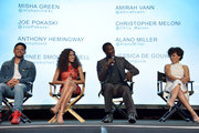 """(L-R) Actors Anthony Hemingway, Jurnee Smollett-Bell, Aldis Hodge and Amirah Vann speak onstage at WGN America's """"Underground"""" For Your Consideration Emmy Event on April 17, 2016 in Beverly Hills, California."""