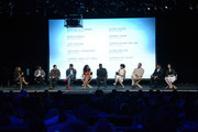 """(L-R) Moderator Nischelle Turner, executive producers/creators Misha Green and Joe Pokaski and actors Anthony Hemingway, Jurnee Smollett-Bell, Aldis Hodge, Amirah Vann, Christopher Meloni, Alano Miller and Jessica de Gouw speak onstage at WGN America's """"Underground"""" For Your Consideration Emmy Event on April 17, 2016 in Beverly Hills, California."""