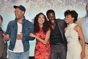 """(L-R) Actors Anthony Hemingway, Jurnee Smollett-Bell, Aldis Hodge and Amirah Vann attend WGN America's """"Underground"""" For Your Consideration Emmy Event on April 17, 2016 in Beverly Hills, California."""