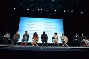 """(L-R) Executive producers/creators Misha Green and Joe Pokaski and actors Anthony Hemingway, Jurnee Smollett-Bell, Aldis Hodge, Amirah Vann, Christopher Meloni, Alano Miller and Jessica de Gouw speak onstage at WGN America's """"Underground"""" For Your Consideration Emmy Event on April 17, 2016 in Beverly Hills, California."""