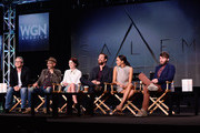 (L-R) Co-Creator, Executive Producer, Writer Brannon Braga, Co-Creator, Executive Producer, Writer Adam Simon, actors Janet Montgomery, Shane West, Ashley Madekwe and Seth Gabel attend WGN America's Presentation of the upcoming drama 'SALEM' premiering Spring 2014, at Winter TCA held at The Langham Huntington Hotel and Spa on January 12, 2014 in Pasadena, California.