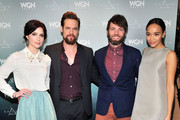 (L-R) Actors Janet Montgomery, Shane West, Seth Gabel, and Ashley Madekwe attend WGN America's Presentation of the upcoming drama 'SALEM' premiering Spring 2014, at Winter TCA held at The Langham Huntington Hotel and Spa on January 12, 2014 in Pasadena, California.