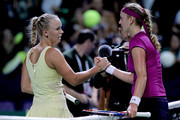 Caroline Wozniacki of Denmark congratulates Petra Kvitova of the Czech Republic after their match during round robin play of the TEB BNP Paribas WTA Championships Istanbul at the Sinan Erdem Dome on October 27, 2011 in Istanbul, Turkey.