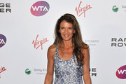 Annabel Croft arrives at the WTA Tour Pre-Wimbledon Party at The Roof Gardens, Kensington on June 16, 2011 in London, England.