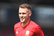 Aaron Ramsey of Wales during a training session a the Racecourse Ground on May 21, 2018 in Wrexham, Wales.