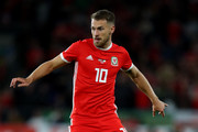 Aaron Ramsey of Wales during the UEFA Nations League B group four match between Wales and Ireland at Cardiff City Stadium on September 6, 2018 in Cardiff, United Kingdom.