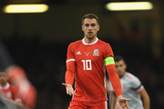 Wales player Aaron Ramsey calls for the ball during the International Friendly match between Wales and Spain on October 11, 2018 in Cardiff, United Kingdom.