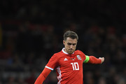 Wales player Aaron Ramsey in action during the International Friendly match between Wales and Spain on October 11, 2018 in Cardiff, United Kingdom.