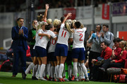 Jill Scott of England celebrates scoring the second goal during the Women's World Cup qualifier between Wales Women and England Women at Rodney Parade on August 31, 2018 in Newport, Wales.