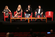 """(2nd from L-R) Actress Valeria Marini, director Christian Molina and actor Ben Temple speak on stage at the """"I Want To Be  A Soldier"""" press conference during the 5th International Rome Film Festival at Auditorium Parco Della Musica on November 2, 2010 in Rome, Italy."""
