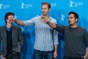 """From L: producer Chris Clark, Swedish actor Alexander Skarsgard, and US actor Michael Pena pose during the photo call for the film """"War On Everyone"""" at the Berlinale Film Festival in Berlin on February 12, 2016.  / AFP / John MACDOUGALL"""