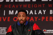 Andre Ward speaks during the press conference at the Roosevelt Ballroom on April 12, 2017 in Los Angeles, California.  Sergey Kovalev will challenge Andre Ward for the Unified Light Heavyweight World Championship Saturday, June 17, 2017 at the Mandalay Bay Resort in Las Vegas.