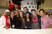 "In this handout photo provided by Warner Bros, Jesse L. Martin, Greg Berlanti, John Wesley Shipp, Danielle Panabaker, Andrew Kreisberg, Candice Patton, Grant Gustin, and Tom Cavanagh of ""The Flash"" attend Comic-Con International 2014  on July 26, 2014  in San Diego, California."