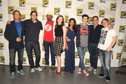 "In this handout photo provided by Warner Bros, John Wesley Shipp, Andrew Kreisberg, Jesse L. Martin, Danielle Panabaker, Candice Patton, Grant Gustin, Greg Berlanti, and Geoff Johns attends ""Warner Bros. Television Presents A Night of DC Entertainment"" at Comic-Con International 2014  on July 26, 2014  in San Diego, California."
