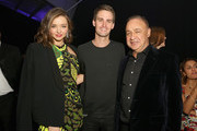 (L-R) Model Miranda Kerr, Co-Founder & CEO of SnapChat Evan Spiegel and Len Blavatnik, Chairman of Access Industries and owner of Warner Music Group attend Warner Music Group's annual Grammy celebration at Milk Studios Los Angeles on February 15, 2016 in Los Angeles, California.