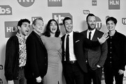 Image has been shot in black and white. No color version available) Karan Soni, Steve Buscemi, Geraldine Viswanathan, General Manager, TBS, TNT and truTV Brett Weitz, EVP of Original Programming at TBS, TNT and truTV Thom Hinkle and Simon Rich pose in the green room during the 2020 Winter Television Critics Association Press Tour at The Langham Huntington, Pasadena on January 15, 2020 in Pasadena, California. 697450