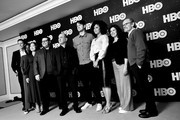 Image has been shot in black and white. No color version is available) (L-R) Hugh Laurie, Nikki Amuka-Bird, Josh Gad, Armando Iannucci, Zach Woods, Lenora Crichlow, Rebecca Front and Ethan Phillips of 'Avenue 5' pose in the green room during the 2020 Winter Television Critics Association Press Tour at The Langham Huntington, Pasadena on January 15, 2020 in Pasadena, California. 697450