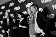 Image has been shot in black and white. No color version available) David E. Kelley, Noma Dumezweni, Susanne Bier, Nicole Kidman and Hugh Grant of 'The Undoing' pose in the green room during the 2020 Winter Television Critics Association Press Tour at The Langham Huntington, Pasadena on January 15, 2020 in Pasadena, California. 697450