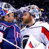 Braden Holtby Photos - Sergei Bobrovsky #72 of the Columbus Blue Jackets congratulates Braden Holtby #70 of the Washington Capitals at the end of Game Six of the Eastern Conference First Round during the 2018 NHL Stanley Cup Playoffs on April 23, 2018 at Nationwide Arena in Columbus, Ohio. Washington defeated Columbus 6-3 to win the series 4-2. - Washington Capitals Vs. Columbus Blue Jackets - Game Six