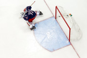 Sergei Bobrovsky #72 of the Columbus Blue Jackets gets beat by a shot by Devante Smith-Pelly #25 of the Washington Capitals during the third period in Game Six of the Eastern Conference First Round during the 2018 NHL Stanley Cup Playoffs on April 23, 2018 at Nationwide Arena in Columbus, Ohio. Washington defeated Columbus 6-3 to win the series 4-2.