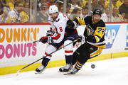 Patric Hornqvist #72 of the Pittsburgh Penguins battles for the puck with Michal Kempny #6 of the Washington Capitals during the second period in Game Six of the Eastern Conference Second Round during the 2018 NHL Stanley Cup Playoffs at PPG Paints Arena on May 7, 2018 in Pittsburgh, Pennsylvania.