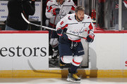 Alex Ovechkin #8 of the Washington Capitals skates out for warm-ups prior to the game against the New Jersey Devils at the Prudential Center on October 11, 2018 in Newark, New Jersey.