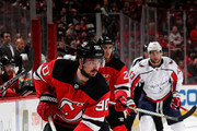 Marcus Johansson #90 of the New Jersey Devils takes the puck in the third period against the Washington Capitals on January 18, 2018 at Prudential Center in Newark, New Jersey.