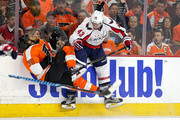 Tom Wilson #43 of the Washington Capitals checks Pierre-Edouard Bellemare #78 of the Philadelphia Flyers during the first period in Game Six of the Eastern Conference Quarterfinals during the 2016 NHL Stanley Cup Playoffs at Wells Fargo Center on April 24, 2016 in Philadelphia, Pennsylvania.
