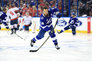 Ryan Callahan #24 of the Tampa Bay Lightning warms up prior to Game Seven of the Eastern Conference Finals against the Washington Capitals during the 2018 NHL Stanley Cup Playoffs at Amalie Arena on May 23, 2018 in Tampa, Florida.
