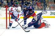 Sergei Bobrovsky #72 of the Columbus Blue Jackets dives to block a shot from Chandler Stephenson #18 of the Washington Capitals during the first period in Game Four of the Eastern Conference First Round during the 2018 NHL Stanley Cup Playoffs on April 19, 2018 at Nationwide Arena in Columbus, Ohio.