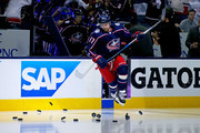 Brandon Dubinsky #17 of the Columbus Blue Jackets jumps out onto the ice for pregame warmups prior to the start of Game Four of the Eastern Conference First Round during the 2018 NHL Stanley Cup Playoffs against the Washington Capitals on April 19, 2018 at Nationwide Arena in Columbus, Ohio.