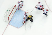 Braden Holtby #70 of the Washington Capitals stops a shot from Patric Hornqvist #72 of the Pittsburgh Penguins during the third period in Game Four of the Eastern Conference Second Round during the 2018 NHL Stanley Cup Playoffs at PPG PAINTS Arena on May 3, 2018 in Pittsburgh, Pennsylvania. Pittsburgh defeated Washington 3-1.