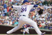 Starting pitcher Jon Lester #34 of the Chicago Cubs delivers the ball against the Washington Nationals at Wrigley Field on August 11, 2018 in Chicago, Illinois. The Nationals defeated the Cubs 9-4.