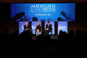 """Washington Post Chief Correspondent Dan Balz (L); Judy Woodruff (C), anchor and managing editor of PBS' """"NewsHour"""" and Bret Baier (R), chief political anchor at Fox News, participate in a discussion on """"Americans and the Media: Sorting Fact from Fake News"""" January 23, 2018 in Washington, DC. The discussion was hosted by The Washington Post, The University of Virginia, and the Knight Foundation."""