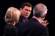 """Bret Baier (C), Chief political anchor at Fox News speaks during a discussion with Washington Post Chief Correspondent Dan Balz (R) and Judy Woodruff (L), anchor and managing editor of PBS' """"NewsHour"""" on """"Americans and the Media: Sorting Fact from Fake News"""" January 23, 2018 in Washington, DC. The discussion was hosted by The Washington Post, The University of Virginia, and the Knight Foundation."""
