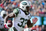 Chris Ivory #33 of the New York Jets runs the ball during the second quarter against the Washington Redskins at MetLife Stadium on October 18, 2015 in East Rutherford, New Jersey.