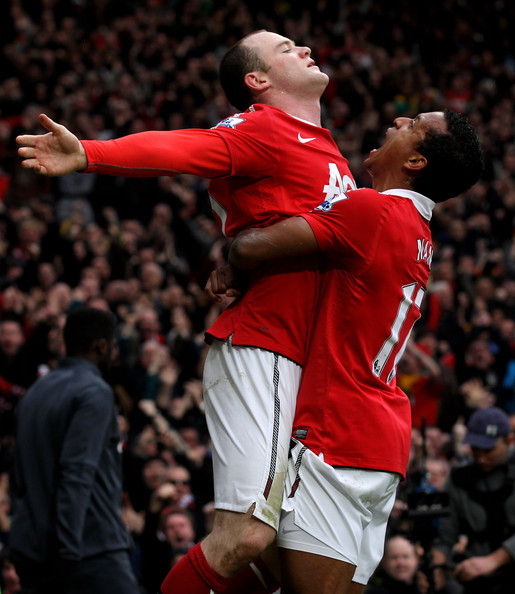 Wayne Rooney Wayne Rooney of Manchester United celebrates with teammate Nani (R) after he scores a goal from an overhead kick during the Barclays Premier League match between Manchester United and Manchester City at Old Trafford on February 12, 2011 in Manchester, England.